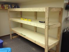 Wall Storage Shelf DIY Cheap Free How to Build Idiots Guide to Basement Storage and Basement Shelving We need Cheap Storage Shelves, Basement Storage Shelves, Utility Shelves, Wood Storage Sheds, Diy Wood Shelves, Diy Garage Storage, Garage Shelving, Garage Shelf, Garage Organization