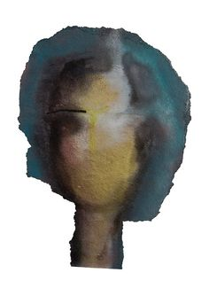 Woman Face Abstract, Art Painting Print, Female Head in Green, Yellow, Grey, Black, Feminist Art