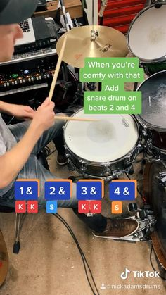 How to play drums: This is a basic beat tutorial that will teach you a simple drum groove in under 30 seconds. (DW drum set with Paiste cymbals) Music Lessons For Kids, Music Lesson Plans, Drum Lessons, Guitar Lessons, Drum Sheet Music, Drums Sheet, Learn Drums, How To Play Drums, Drums For Kids