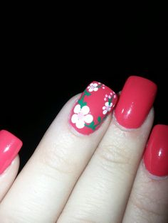 Flower spring summer cherry tomato red acrylic accent nail beautiful!