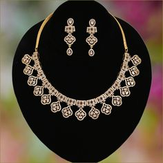 Gold Plated Indian American Diamond Ruby CZ Bridal Necklace with Matching Eardrops Indian Jewelry Sets, Indian Wedding Jewelry, Wedding Jewellery Designs, Jewelry Design, Jewelry Art, Fashion Rings, Fashion Jewelry, Fashion Wear, American Diamond Jewellery