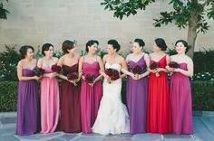 Beautiful and bright pruple + orchid + pink bridesmaid dresses color combination!