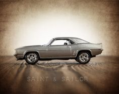 Vintage Muscle Car Silver 69 Camaro