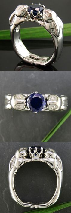 Bunny Ring! Hand carved ring cast in white gold with a stunningly royal blue sapphire center stone #Cool Engagement Ring