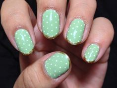 Super simple, polka dot with gold tips. Polish: Zoya Neely...