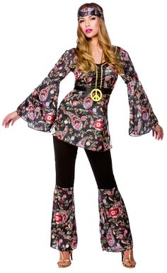60/'s-70/'s Hippie-Woodstock-FESTIVAL-Hippy Flower Power Set 4 articoli DRESS UP SET