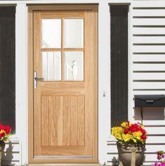 Stable 9 Light Oak Door, Square Top with Clear Double Glazing - Lifestyle Image Wooden Cottage, Cottage Door, Cottage Exterior, Exterior Wood Paint, External Oak Doors, Beautiful Front Doors, Wooden Front Doors, Composite Door, Focal Points