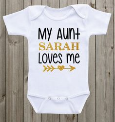 My Aunt Loves Me Baby Onesie Aunt Onesie Baby Girl Girl Outfit Black Gold Pink Glitter Shirt Baby Girl Clothes Baby Shower Gift, Uncle Onesie, Baby Bodysuit, Baby Onesie, Glitter Shirt, Pink Glitter, Newborn Onesies, Nicu, Baby Shirts, Baby Boy Outfits