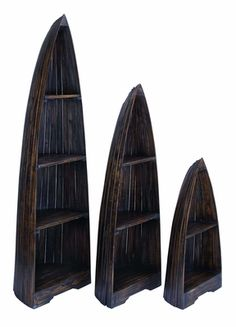 Nautical Wooden Boat Décor with Distinctive Design in Distress Finish - Set of 3 Brand Woodland