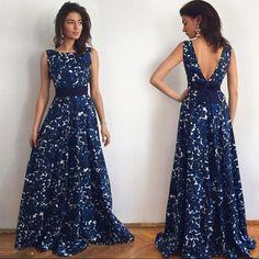 5a82ae7d51 Hot Sale Printed Backless Blue Sleeveless Dress