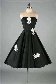Vintage 1950s Dress  Black Cotton  Lace  Full by mill street vintage, $225.00