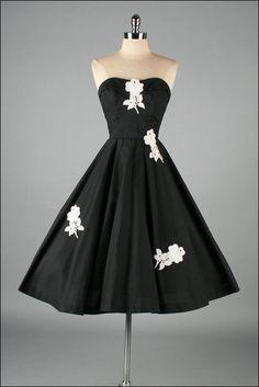 Vintage 1950s Dress Black Cotton, Lace & Full Skirt Dress
