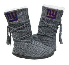 New York Giants slippers for women come in 4 sizes, are high boot style style with embroidered team logo, fur lining and hard bottom. Size S fits shoe sizes M fits L fits XL fits Giants Football, Football Girls, Ny Yankees, Football Team, New York Giants Logo, Go Big Blue, Knit Boots, Knitted Slippers, Sock Shoes