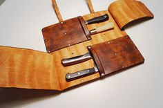 Leather Knife Roll Knife Case Cheffs Roll Chefs Bag by TeLeather