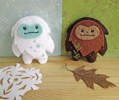 DIY felt Yeti and Sasquatch pattern at www.littledear.etsy.com
