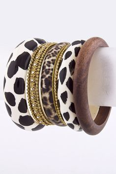 Leopard, gold and black and white Bracelet cuff set