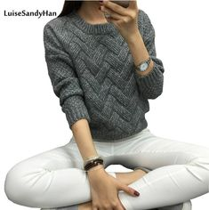 2016 Women Casual Sweater Plaid Female Pullover O-neck Spring and Autumn Computer Knitted sweaters and pullovers pattern pull Knitting Pullover, Pullover Sweaters, Women's Sweaters, Casual Sweaters, Sweaters For Women, Girls Sweaters, Winter Sweaters, Winter Fashion Casual, Winter Style