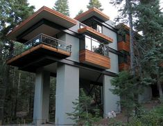 The Steel Tree House – Lake Tahoe.  Storage under the deck ... ~ http://ownerbuiltdesign.com ~ Residential design and drafting solutions for Hawaii homeowners, real estate investors, and contractors. Most projects ready for permit applications in 2 weeks or less.