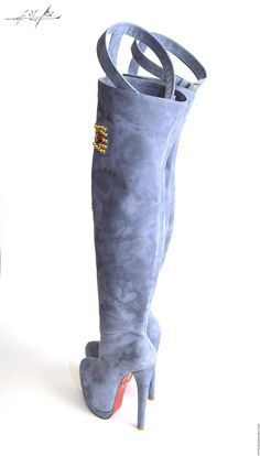 Blue-gray platfor suede thigh high boots