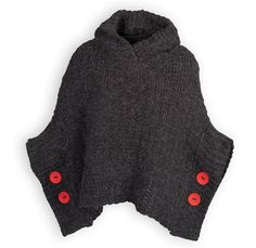 Girls charcoal acrylic/poly knit hooded poncho to keep the chill out on those cool days. Large red button accents. Falls below the waist. Machine was