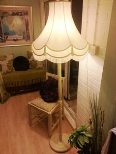 An upcycled vintage wooden standard lamp painted with funky just finished beautiful upcycled vintage standard lamp shade a beautiful refurbished standard aloadofball Choice Image