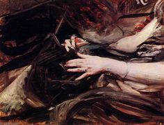 Sewing Hands of a Woman by Giovanni Boldini (1842-1931, Italy)