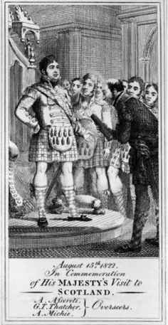 H.M. King George IV as drawn c, 1822 on his tour to Scotland, meeting with overseers G T Thatcher and A Mitchie.