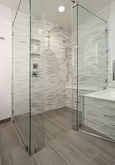 curbless wood tile shower floor - Google Search