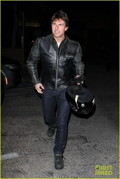 Tom Cruise looks super slick in a leather jacket as he carries his helmet with him into Lucas on Sunset in Los Angeles. #Hollywood #Fashion #Style