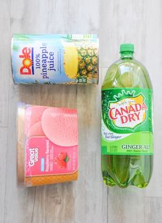 Pink punch recipe is pictured. Blue punch recipe is large can pineapple juice, 2 liter Sprite and jug of blue Hawaiian punch. Use ice to chill both. Gender Reveal Food, Gender Reveal Party Games, Gender Reveal Decorations, Gender Party, Baby Shower Gender Reveal, Reveal Parties, Baby Reveal Party Ideas, Pink Punch Recipes, Party Punch Recipes