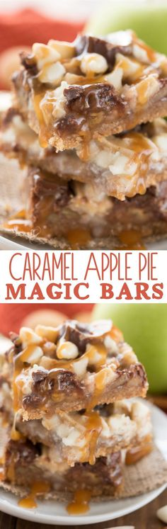 We LOVED these Caramel Apple Pie Magic Bars! An easy recipe for fall full of caramel, apple pie flavor, and a Nilla Wafer crust! ~ Crazy for Crust Winter Desserts, Thanksgiving Desserts, Köstliche Desserts, Delicious Desserts, Yummy Food, Desserts Caramel, Christmas Desserts, Healthy Desserts, Salted Caramel Brownies