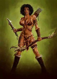 Paintings of castles & hot fantasy girls Fantasy Warrior, 3d Fantasy, Fantasy Women, Warrior Princess, Warrior Girl, Warrior Women, Black Love Art, Black Girl Art, Art Girl