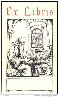 Anton Pieck (1895-1987), Dutch / bookplate depicts old man or monk reading book at table stacked with antique books and manuscripts, with blank banner for owner name