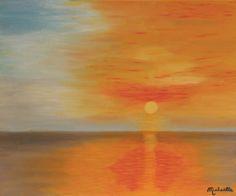 """Peinture figurative signée Michaëlle, peinte par Michaëlle Liefooghe en 2011. Le tableau """"Ciel flamboyant"""" est une oeuvre figurative unique et originale à l'huile sur toile, de dimensions 38X46 cm. 80 € Il s'agit d'une Marine : un coucher de soleil sur..."""