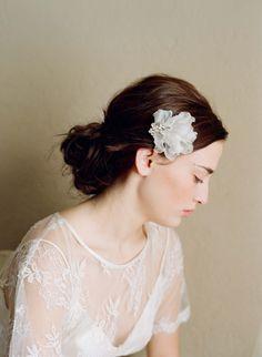 Bridal headpiece, silk petals and rhinestone comb - Petal and rhinestone accent comb - Style 204