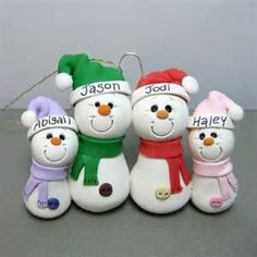 Snowman Family polymer clay Ornament