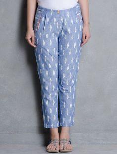 Salwar pants - Blue Ikat Cotton Pleated Slim Pants by Indian August Salwar Designs, Kurta Designs Women, Blouse Designs, Salwar Pants, Plazzo Pants, Salwar Kurta, Patiala, Fashion Pants, Fashion Outfits