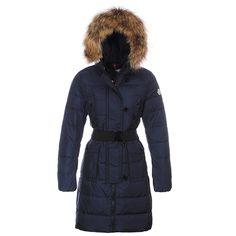 Women Moncler Navy Genevrier Fur Trim Long Down Coat