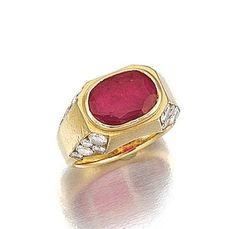Ring set with an oval ruby and brilliant-cut diamonds, signed Bulgari