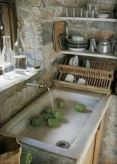 - Small Spaces - rustic stone kitchen