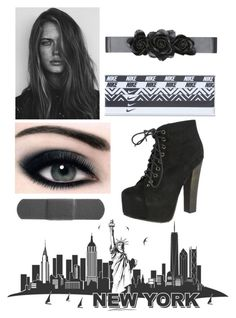 """""""blackish"""" by gabriella-1072 ❤ liked on Polyvore featuring GE, NIKE, Bebe and Breckelle's"""