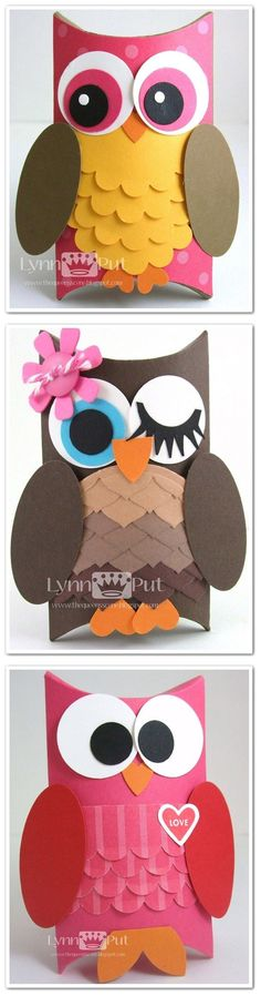 Tutorial - Pillow Box Owl treat boxes and other lovely gift boxes by Lynn Put(Diy Paper Box) Toilet Paper Roll Crafts, Diy Paper, Paper Crafts, Diy And Crafts, Crafts For Kids, Arts And Crafts, Owl Treats, Decoration Creche, Craft Projects
