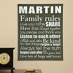 Family Rules Canvas Personalized w/ your family name. Love it, but really could easily make it w/ a canvas and paint. Alot less than $50, too, I assume!!