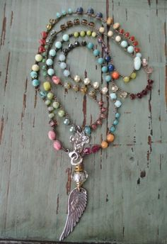 Colorful crochet long wrap necklace Bohemian door slashKnots