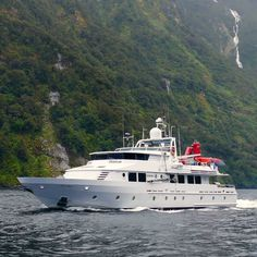 """Seabed mapping with the """"Silent Wings"""" in Fiordland New Zealand. Pacific 7 has a long history of carrying out such tasks in New Zealand and in the Pacific #workboat #research #marineresearch #seabed #seabedmapping #yacht #superyacht South Pacific, Pacific Ocean, Marine Engineering, Boat Restoration, Super Yachts, Boat Building, New Zealand, Coastal, Wings"""