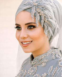 Image may contain: 1 person, closeup Hijab Dress Party, Muslim Wedding Dresses, Muslim Brides, Muslim Girls, Hijab Turban Style, Mode Turban, Bridal Hijab Styles, Hijab Style Tutorial, Hijab Bride