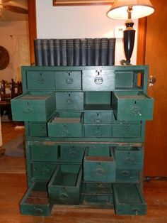"""Deena Alexander writes that she was lucky to """"snag"""" this piece...which is actually two pieces.   They were old clocksmith tool chests.  Now they are perfect for all kinds of storage plus reflecting a time when craftmen kept the clocks running.  Thanks, Deena!"""