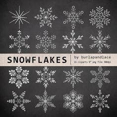 Chalkboard Clipart snowflakes cliparts by 1burlapandlace on Etsy, $4.99