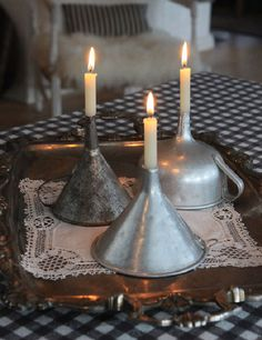 Use Vintage Funnels As Candleholders