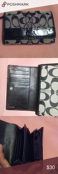 Coach wallet black Black patent leather trim Coach signature, many compartments one for change other for cards. Coach Bags Wallets